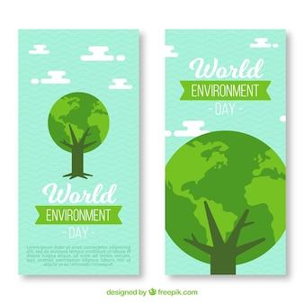 Wereld milieu dag verticale banner met boom