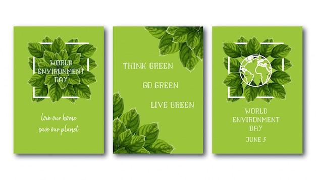Wereld milieu dagvlieger set met groene bladeren.