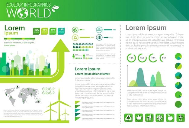 Wereld milieubescherming groene energie ecologie infographics banner met kopie ruimte