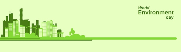 Wereld milieudag groene silhouet stad eco-banner