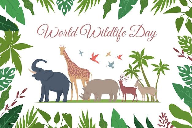 Wereld natuur dag kaart platte samenstelling met sierlijke tekst bloemen frame en exotische vogels met dieren illustratie Gratis Vector