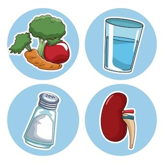 Wereld nier dag pictogrammen