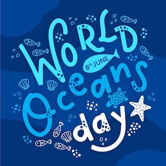 Wereld oceaan dag belettering