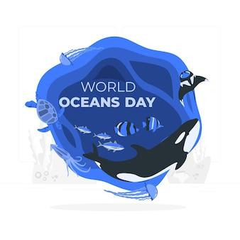 Wereld oceaan dag concept illustratie
