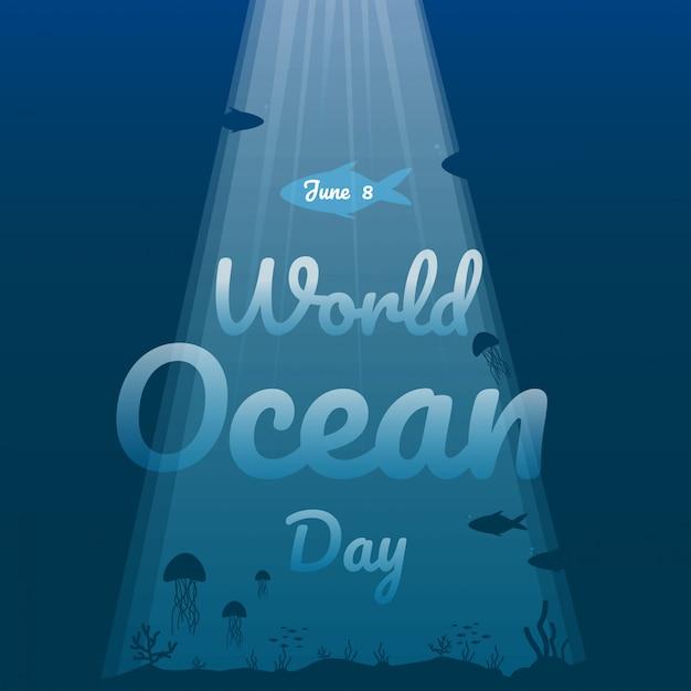 Wereld oceaan dag illustratie