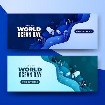 Wereld oceaan dag papier stijl lagen banner