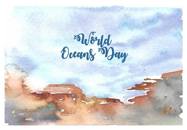 Wereld oceanen dag aquarel kaart met hand schilderij onder de zee