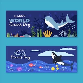 Wereld oceanen dag banner concept
