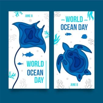 Wereld oceanen dag banner in papier stijl