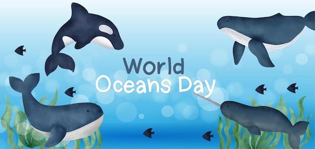 Wereld oceanen dag banner met schattige dolfijn in aquarel stijl.