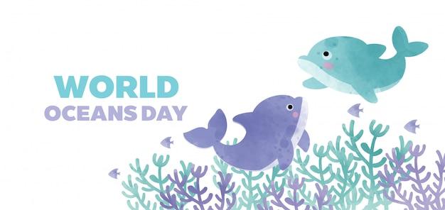 Wereld oceanen dag banner met schattige dolfijn in papier knippen stijl.