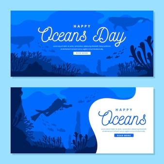 Wereld oceanen dag banner
