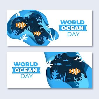 Wereld oceanen dag banners in papierstijl