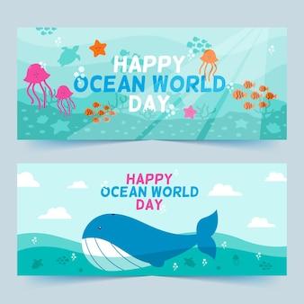 Wereld oceanen dag banners met walvis