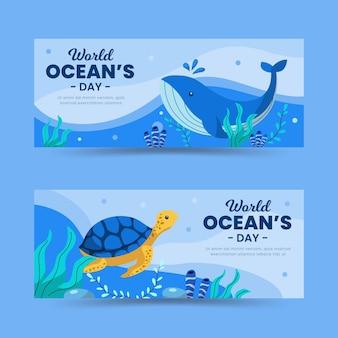Wereld oceanen dag banners ontwerpen