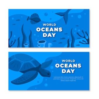 Wereld oceanen dag banners plat ontwerp