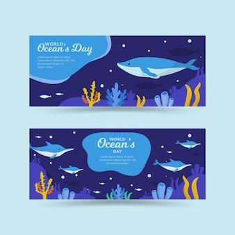 Wereld oceanen dag banners stijl