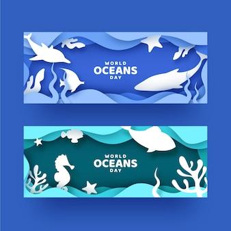 Wereld oceanen dag banners