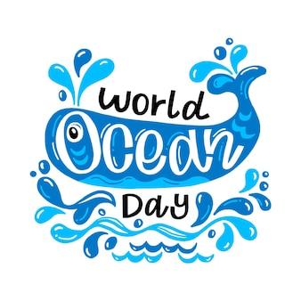 Wereld oceanen dag hand getekend ontwerp