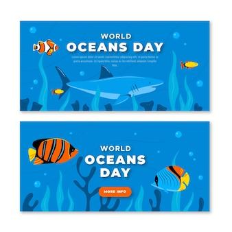 Wereld oceanen dag horizontale banners