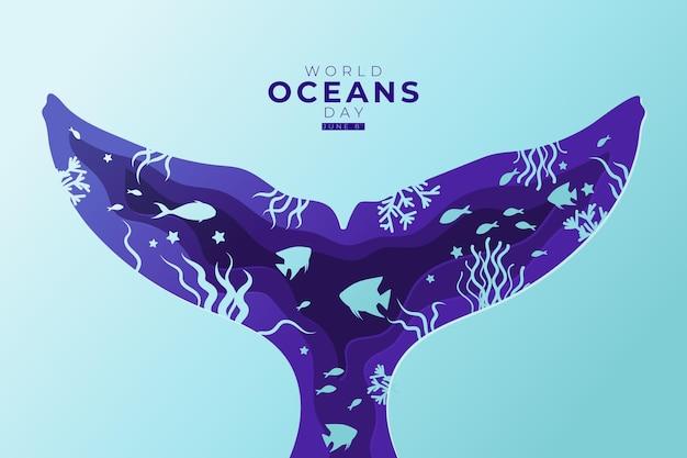 Wereld oceanen dag illustratie in papieren stijl