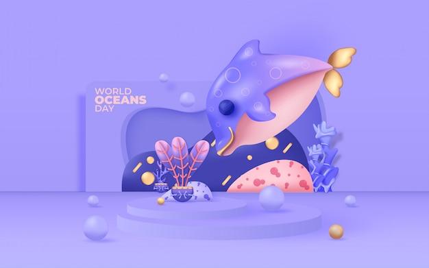 Wereld oceanen dag illustratie