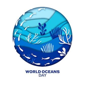 Wereld oceanen dag in papier stijl concept