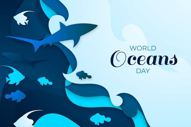 Wereld oceanen dag in papier stijl