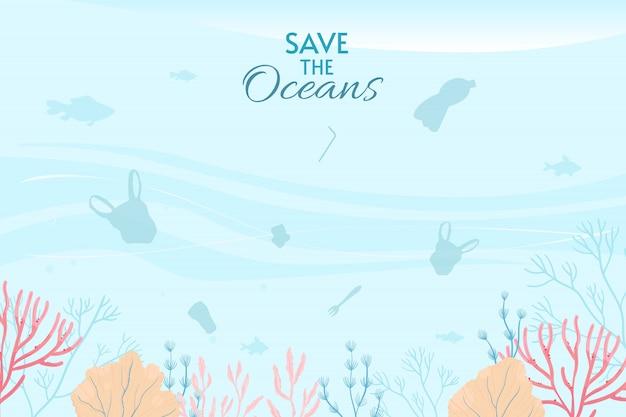 Wereld oceanen dag kaart illustratie