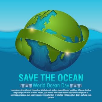 Wereld oceanen dag kaart vectorillustratie