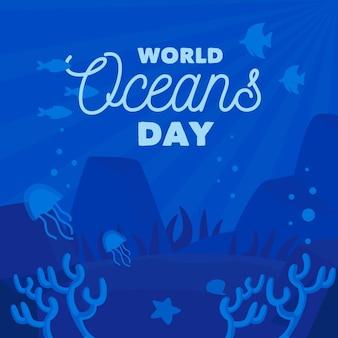 Wereld oceanen dag met kwallen