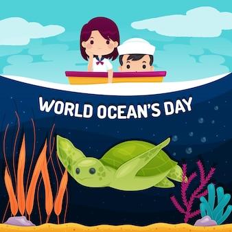 Wereld oceanen dag met schildpad