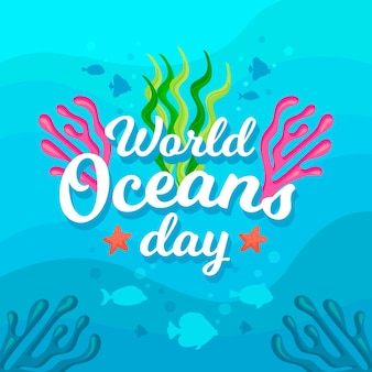 Wereld oceanen dag met vissen en algen
