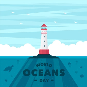 Wereld oceanen dag met vuurtoren
