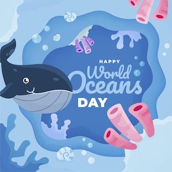 Wereld oceanen dag met wale
