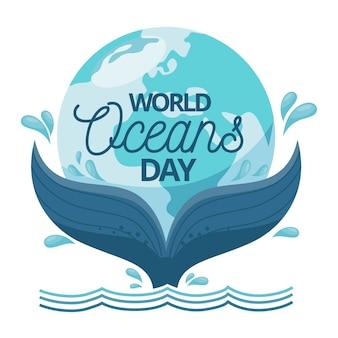 Wereld oceanen dag met walvis staart