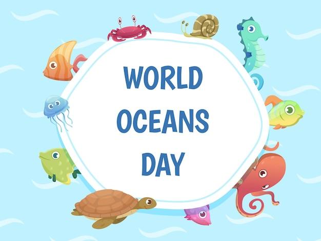 Wereld oceanen dag poster. bespaar water achtergrond. zee wilde dieren illustratie.