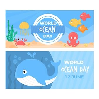 Wereld oceanen dag sjabloon voor spandoek