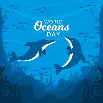 Wereld oceanen dag tekenen ontwerp