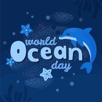 Wereld oceanen dag viering plat ontwerp