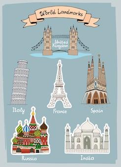 Wereld oriëntatiepunten handgetekende pictogrammen instellen