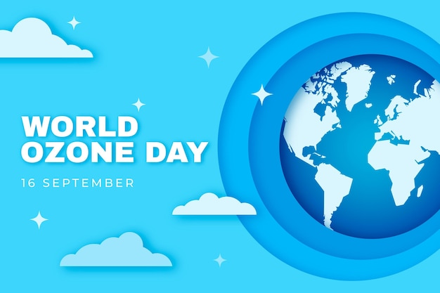 Wereld ozon dag achtergrond in papierstijl
