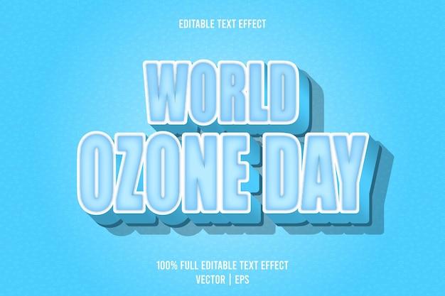 Wereld ozon dag bewerkbare tekst effect reliëf cartoon stijl