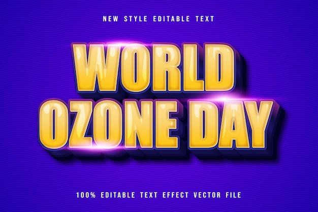 Wereld ozon dag bewerkbare teksteffect cartoon stijl
