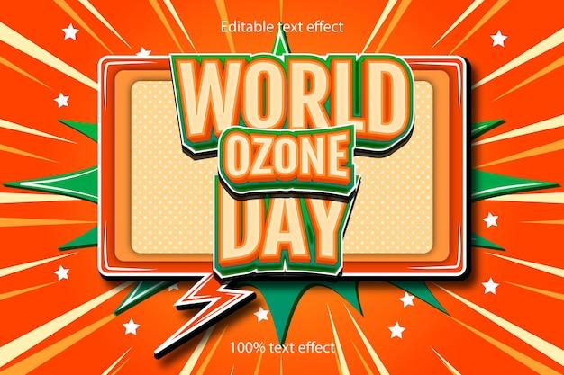 Wereld ozon dag bewerkbare teksteffect reliëf met cartoon-stijl