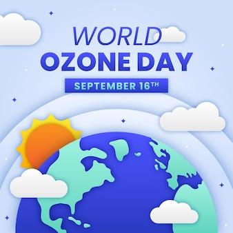 Wereld ozon dag illustratie in papierstijl