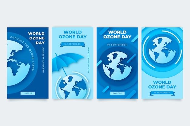 Wereld ozon dag instagram verhalencollectie in papierstijl