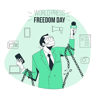 Wereld persvrijheid dag concept illustratie