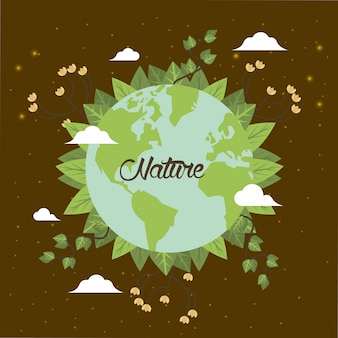 Wereld planeet aarde met bladeren plant vector illustratie kaart ontwerp