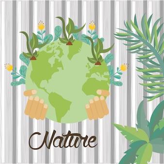 Wereld planeet aarde met bloemen tuin vector illustratie ontwerp